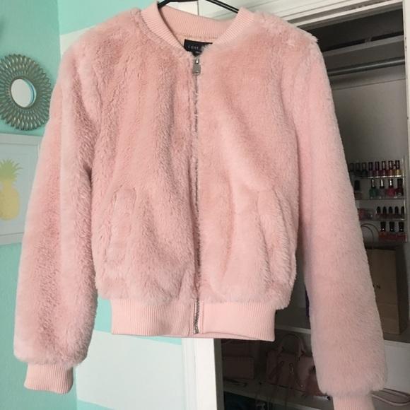 d5b6efc55 NWT Pink Faux Fur Bomber Jacket NWT